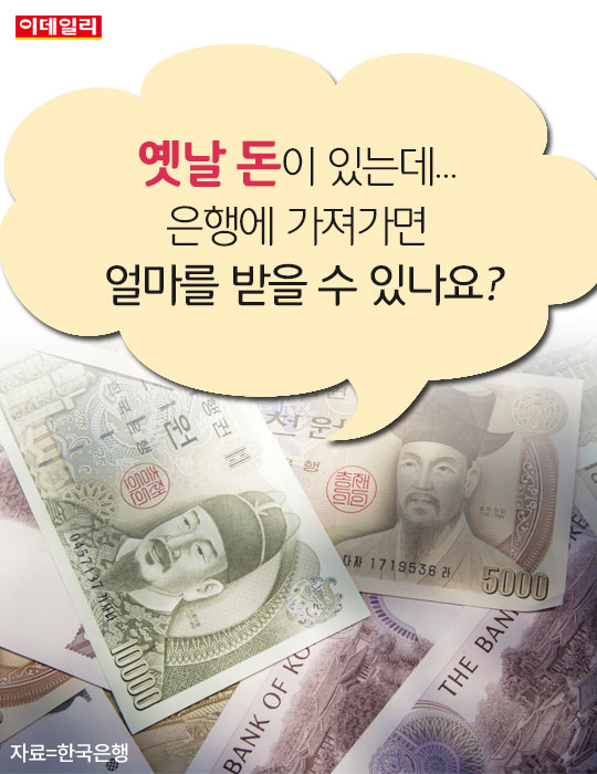 옛날 돈이 있는데 은행에 가져가면 얼마를 받을 수 있나요?