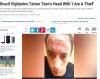 오토바이 훔치려다 이마에 `나는 도둑입니다` 문신 당한 10대 청소년