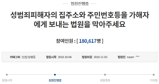 """""""2019년 8월5일 보복 살해당할 예정입니다"""" 성폭력 피해자 靑청원"""