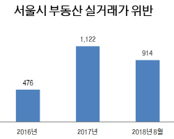 부동산 실거래가 위반, 3년새 2000건 상회..강남 '최다'