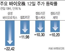 '분식 의혹' 삼바·'어닝쇼크' 셀트리온3형제…바이오株 수난시대