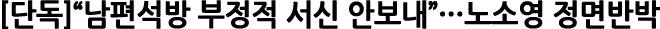 """[단독]""""남편 석방관련 부정적 서신 안보내""""..노소영, 법정 증언 정면 반박"""