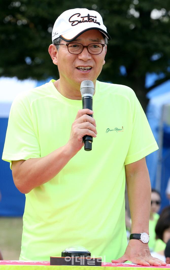 """[그린리본마라톤]곽재선 이데일리 회장 """"행사 때마다 화창"""""""