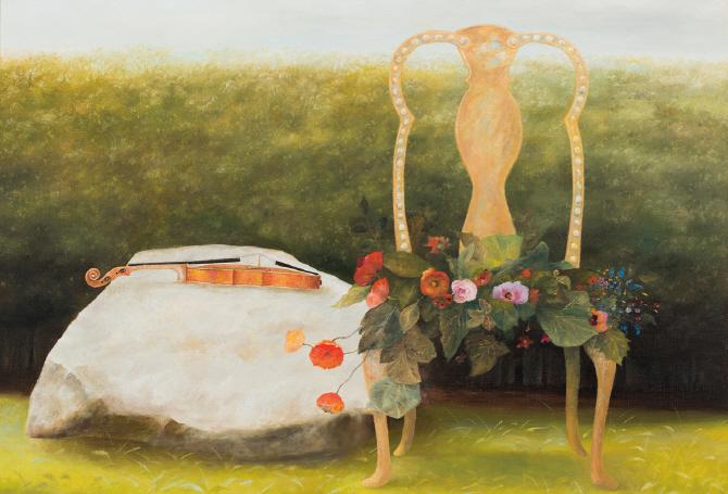 [e갤러리] 파스텔톤에 담긴 서정…황규백 `바위와 의자`
