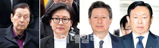 [포토]신격호-서미경-신동주-신동빈, 롯데그룹 일가 나란히 법원 출석