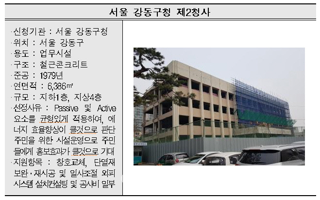 서울 강동구청 2청사 등 17개 공공건축물 그린리모델링 대상 선정