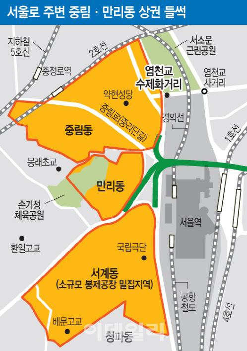 서울역 고가공원에 울고 웃는 상가시장