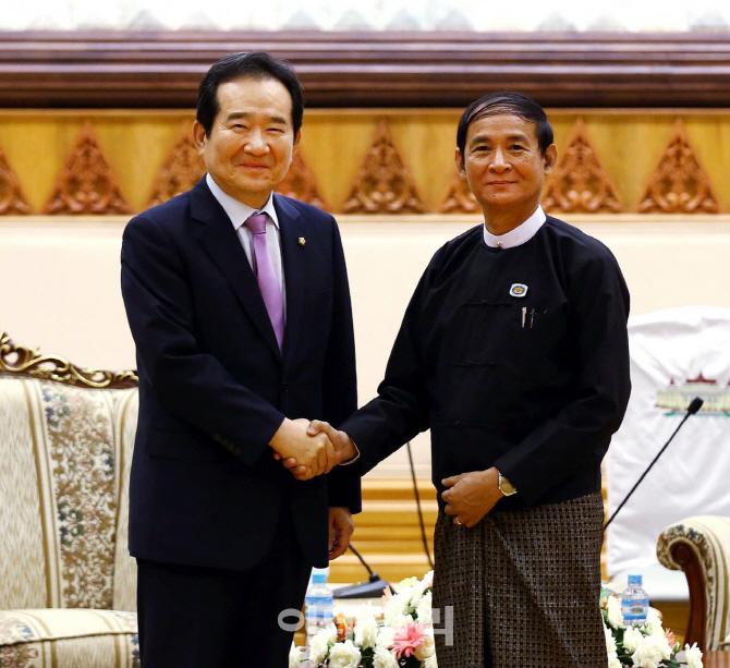 [포토]  정세균 의장, 미얀마 하원의장 회동