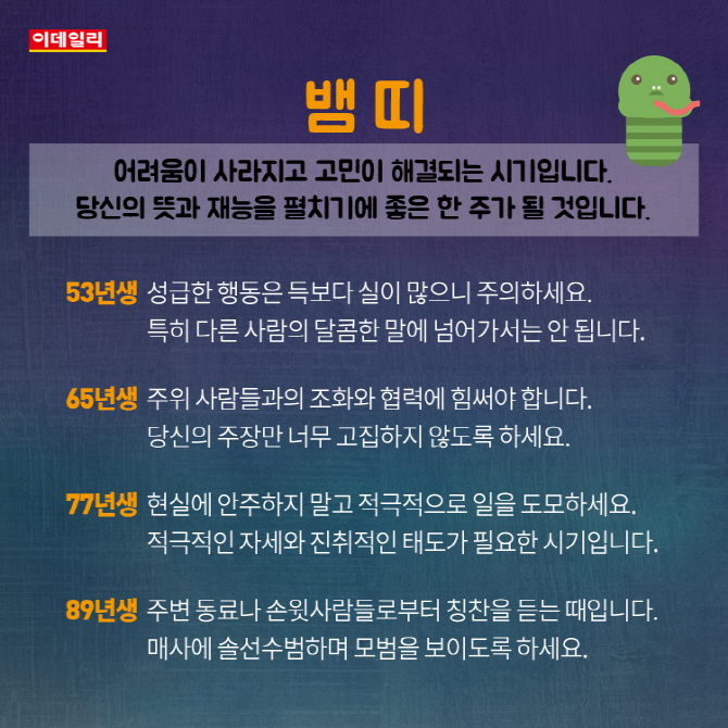 [카드뉴스]9월 첫째주 '띠별 운세'