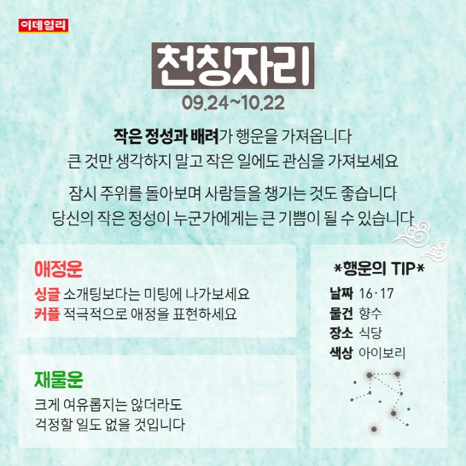 [카드뉴스]9월 둘째주 '별자리 운세'