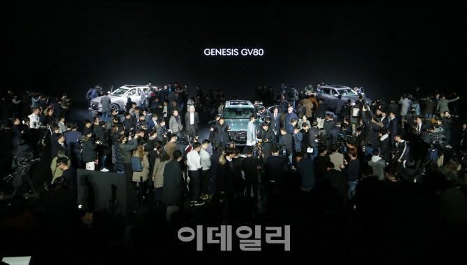 취재진에 둘러싸인 제네시스 SUV 'GV80'