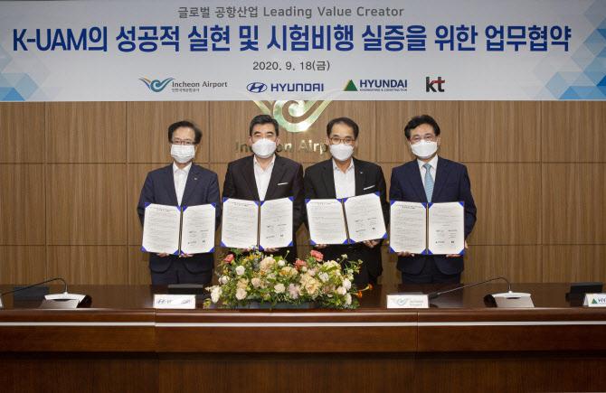 현대차, UAM 개발 박차…KT·현대건설·인천국제공항 `맞손`