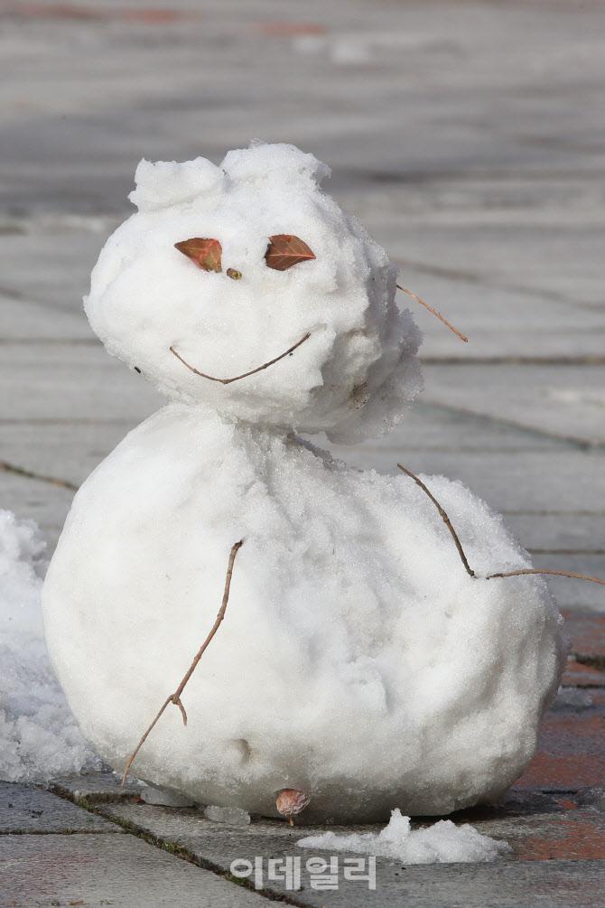 [포토]포근한 날씨가 걱정되는 눈사람