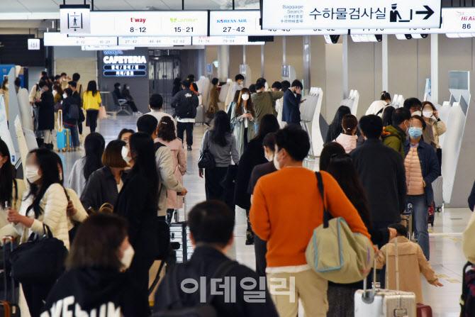 [포토]봄나들이객들로 공항 '인산인해'