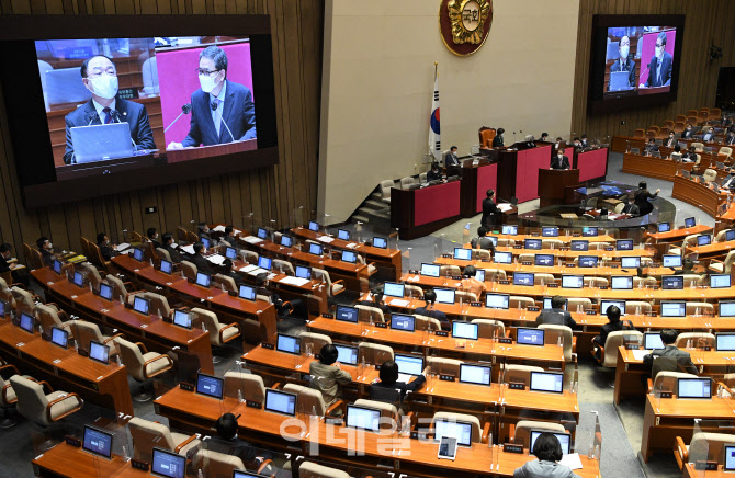 [포토]정치·외교·통일·안보 분야 대정부 질의 받는 홍남기 직무대행