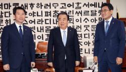 [포토]국회의장-여야 원내대표 회동, '한국당은 불참'
