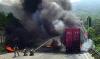 """창원터널 화재, 25톤 트럭 전소 """"잔여물 처리로 차선 통제 중"""""""