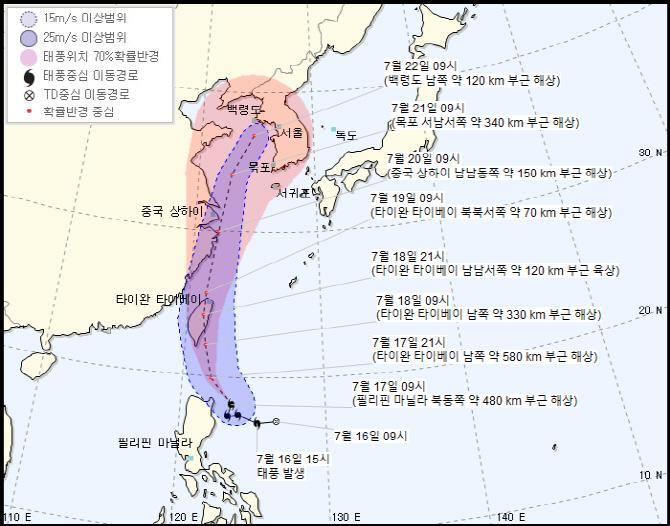 태풍 다나스, 오는 21일 서해로 진입할 듯...전국 영향권