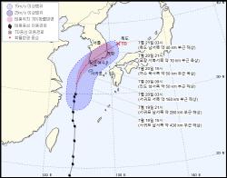 5호 태풍 다나스 제주 해상 성큼…벌써 제주·남부 비바람