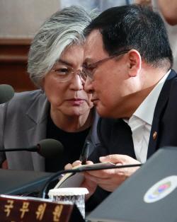 [포토]국무회의, '머리 맞대고 대화하는 강경화-유영민'