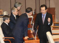 [포토]국회 본회의, '대화하는 정세균-홍남기'