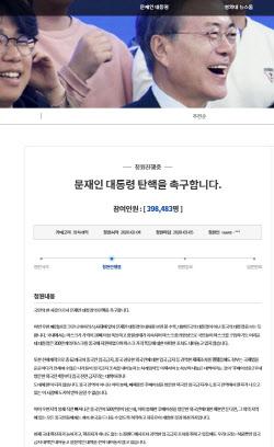 '문재인 대통령 탄핵을 촉구합니다' 국민청원 40만명 육박