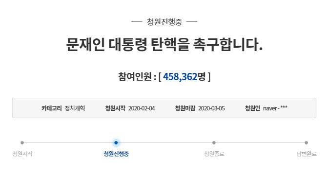 """""""중국 대통령 보는 듯하다"""" 文대통령 탄핵 청원 45만 돌파"""