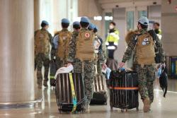 남수단 파병 한빛부대 11진 장병 인천공항 도착