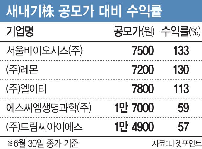 [상반기 증시]돋보였던 새내기株…셋 중 둘은 평균 수익 66%