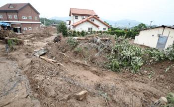 안성 남산마을, 산사태 피해 복구작업