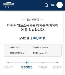 """`대주주 3억 하향` 靑 청원 20만 넘겨…""""정부가 답할차례"""""""