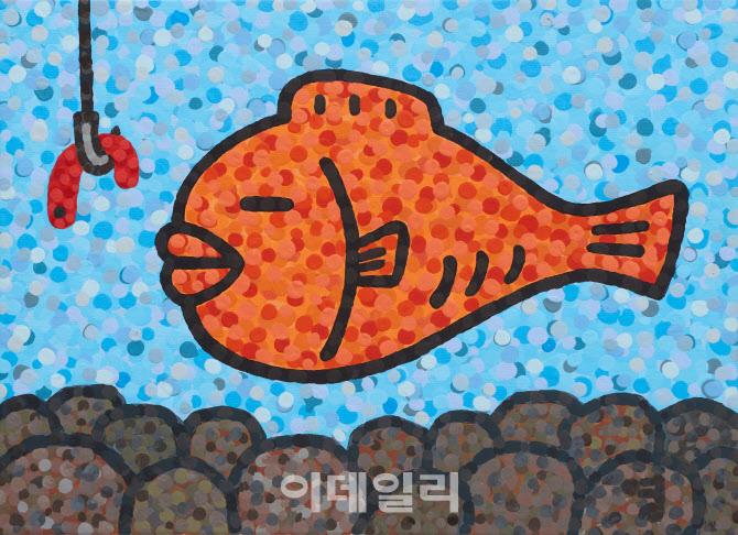"[e갤러리] ""물 수도 안 물 수도…"" 팝 한국화의 위트…이영수 '진퇴양난'"