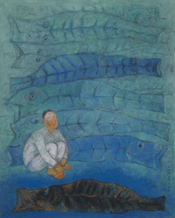 [e갤러리] 왼손 예술혼 녹여낸 푸른 한국화…오태학 '바닷가'