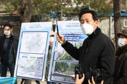 [포토]경의선숲길공원에서 '균형발전 프로젝트 1탄' 선거 공약 발표하는 오세훈