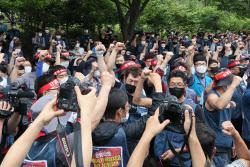 [포토]파이팅 외치는 택배 노동자들