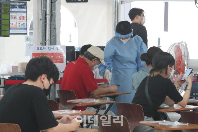 코로나19 선별진료소에서 검사 기다리는 시민들