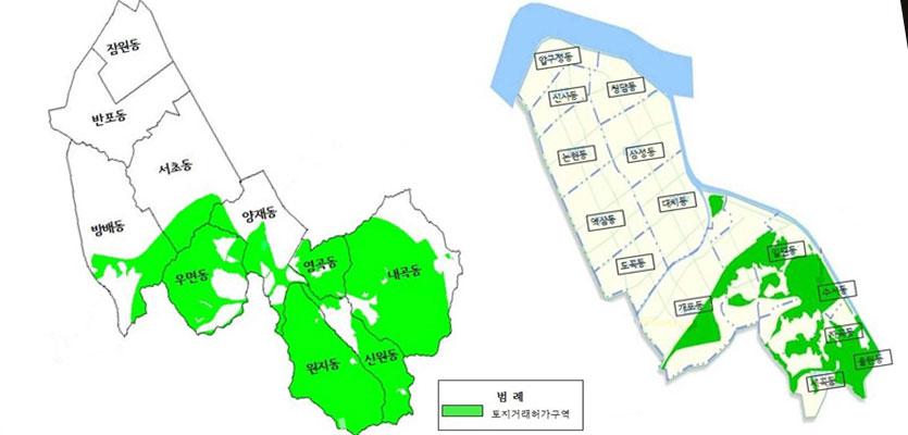 강남구·서초구 27㎢ 규모 '토지거래허가구역' 재지정