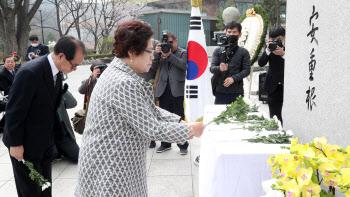 '안중근 의사 동상에 헌화하는 유족들'