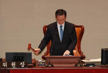 예결위 전체회의, '회의 주재하는 정성호 위원장'