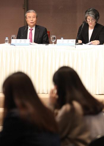 관훈클럽 초청 토론회에서 발언하는 김종인 비대위원장