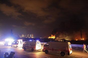 레바논 베이루트 항구 폭발 현장에 출동한 구급차들