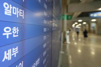 입국을 앞둔 우한발 비행기