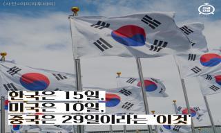 한국은 15일, 미국은 10일, 중국은 29일이라는 '이것'